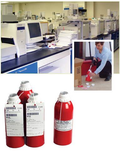 Image of laboratory, sampling methods, and sampling collection cans